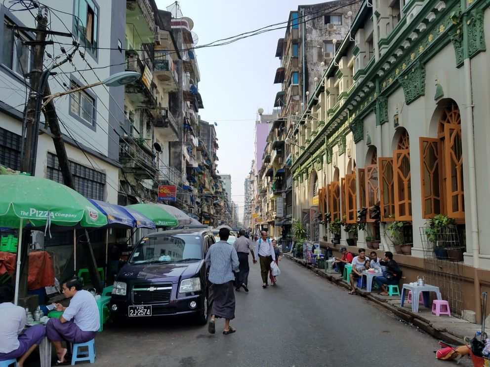 Busy streets of Yangon