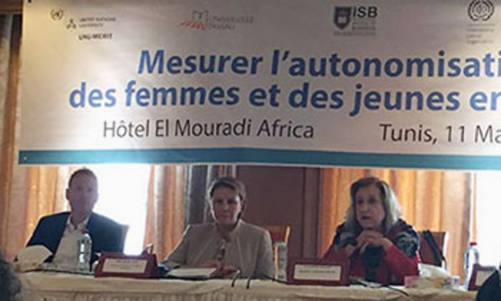 From left to right: Professor Michael Grimm, Tunisian Women's Minister Naziha Laabidi and Executive Director of the Centre of Arab Women for Training in Research Dr Soukaina Bouraoui at the workshop in Tunis.